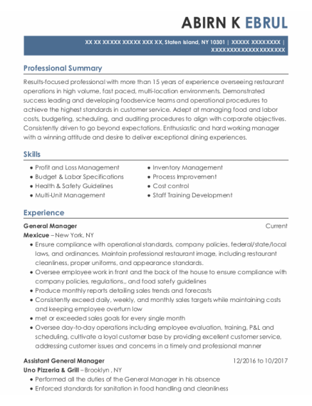 General Manager resume example New York
