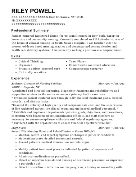 Assistant Director of Nursing Services resume template New York