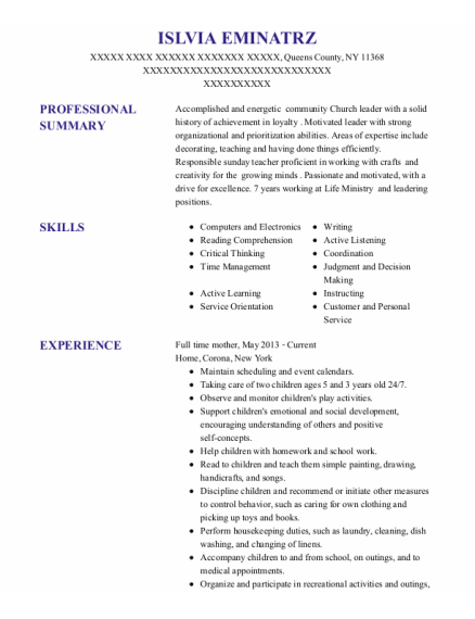 Full Time Mother resume example New York