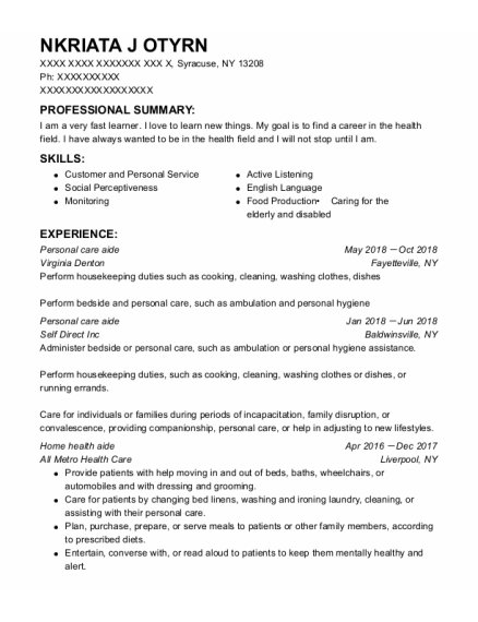 Personal Care Aide resume template New York