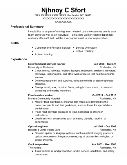 Food Service Worker resume sample New York