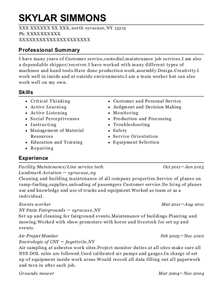 Facility Maintenance resume example New York
