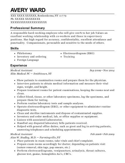 Medical Assistant resume sample New York