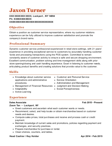 Sales Associate resume format New York