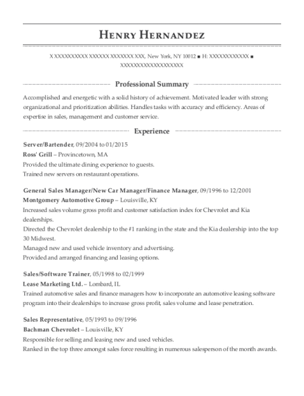 Server resume format New York