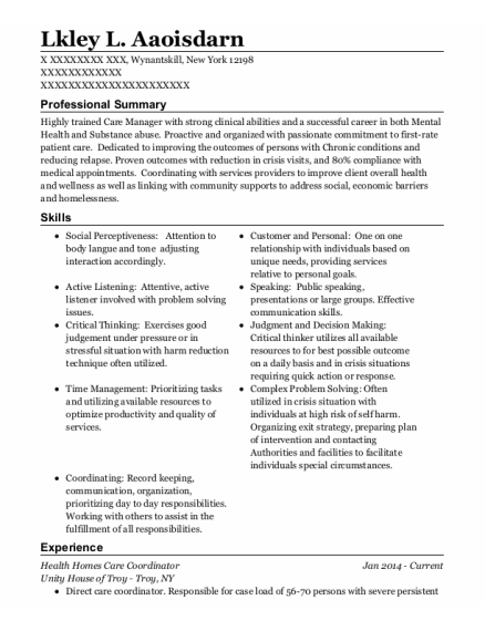 Mental Health resume sample NEW YORK