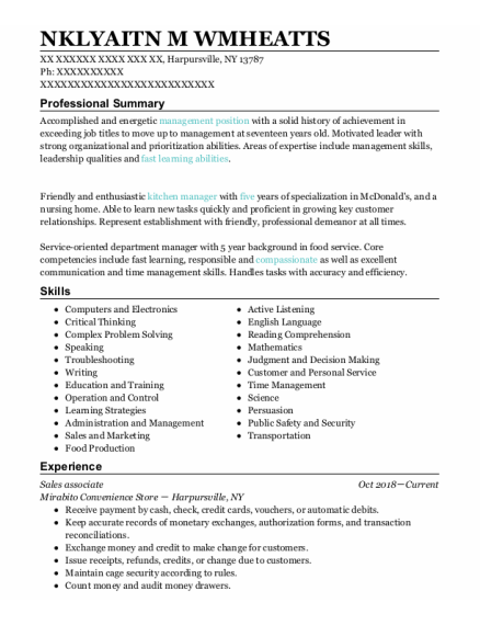 Sales Associate resume example New York