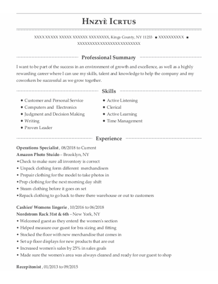 Operations Specialist resume example New York