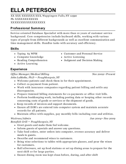Office Manager resume format New York