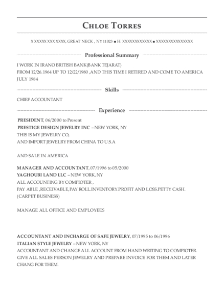 President resume sample New York