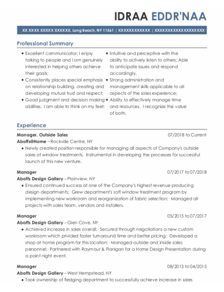 Manager resume sample New York