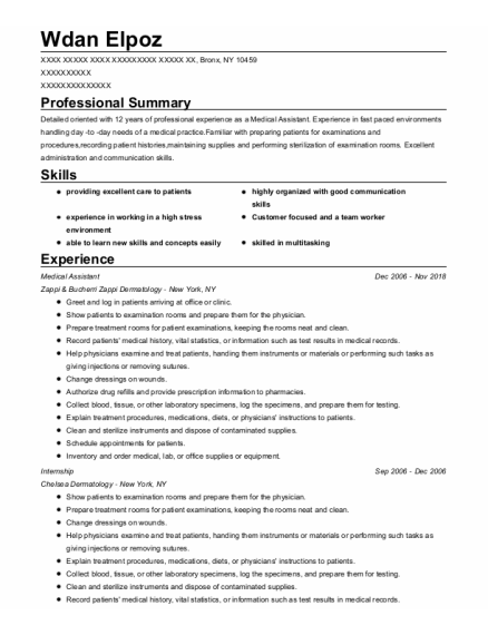 Medical Assistant resume example New York
