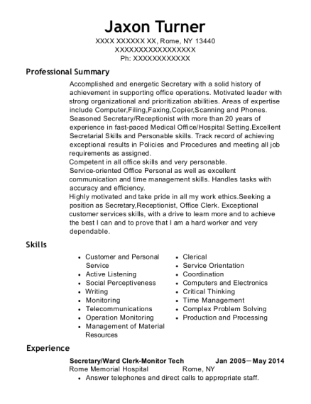Secretary resume sample New York