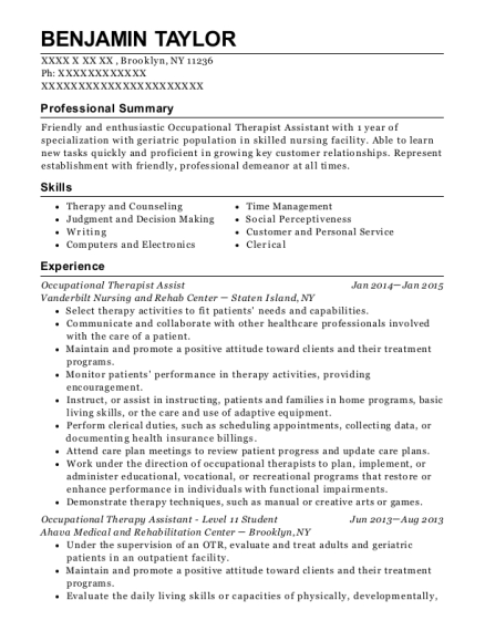 Occupational Therapist Assist resume sample New York