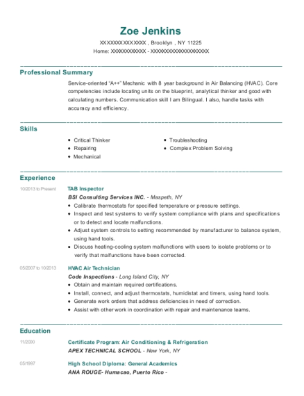 TAB Inspector resume example New York