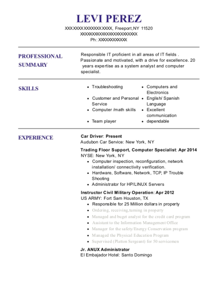 Car Driver resume example New York