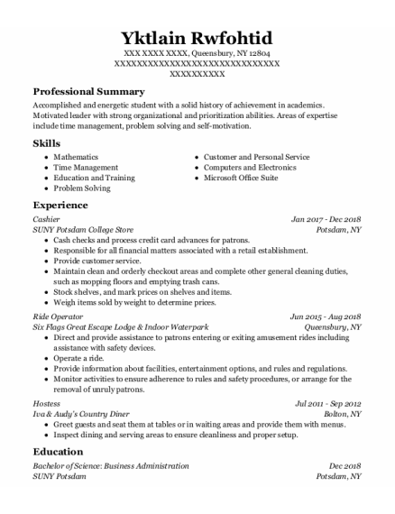 Cashier resume sample New York