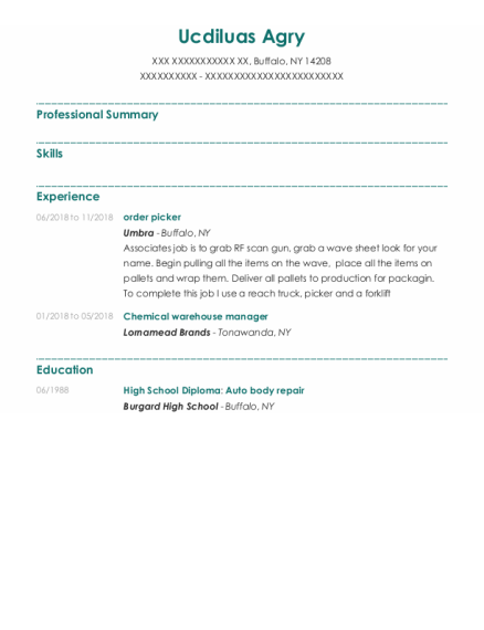 order picker resume example New York