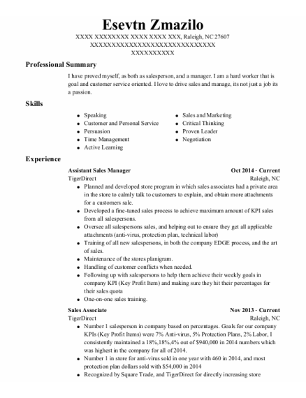 Assistant Sales Manager resume example North Carolina