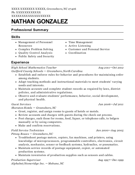 High School Mathematics Teacher resume format North Carolina
