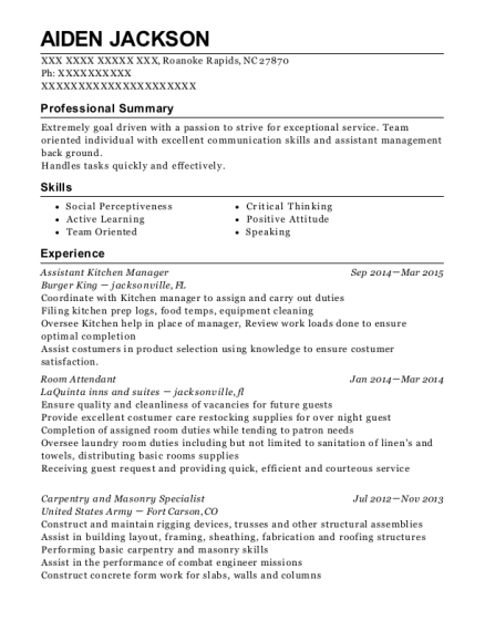 Assistant Kitchen Manager resume template North Carolina