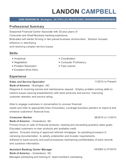 Sales and Service Specialist resume template North Carolina