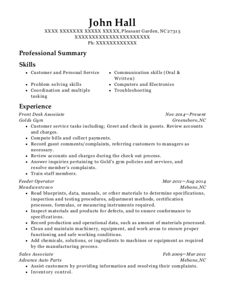 Front Desk Associate resume template North Carolina