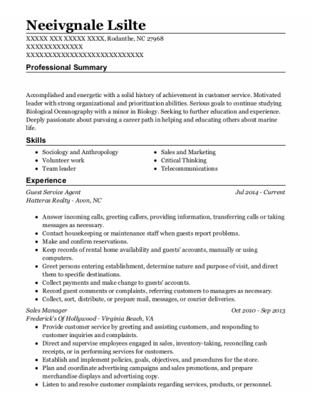 Guest Service Agent resume example North Carolina