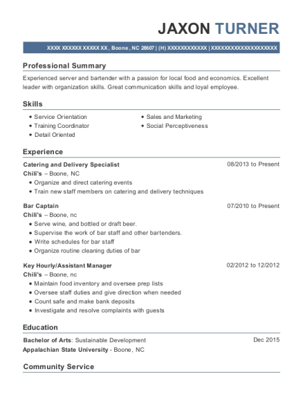 Catering and Delivery Specialist resume format North Carolina