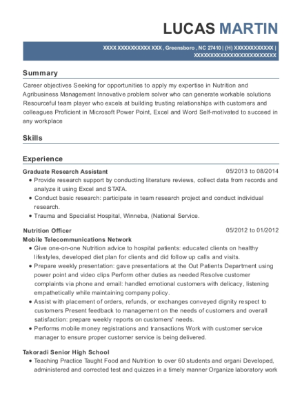 Graduate Research Assistant resume example North Carolina