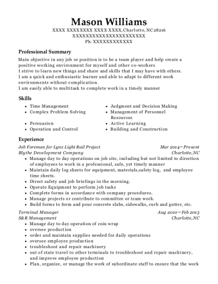 Job Foreman for Lynx Light Rail Project resume sample North Carolina