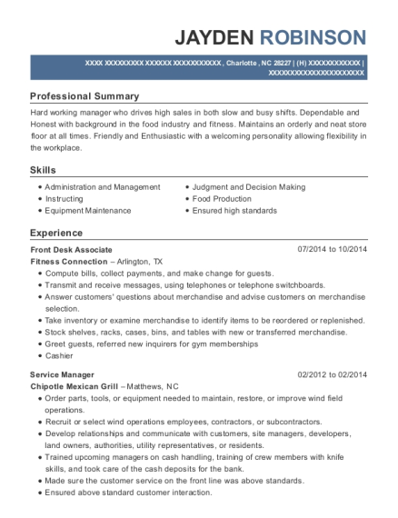 Front Desk Associate resume format North Carolina