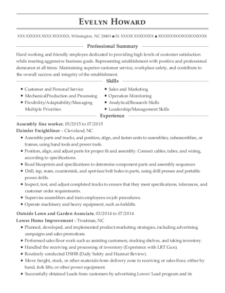 Assembly Line Worker resume template North Carolina