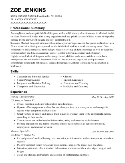 Testing Administrator resume template North Carolina