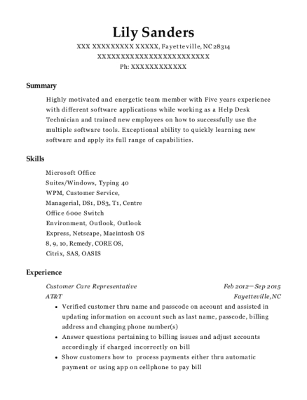 Customer Care Representative resume example North Carolina