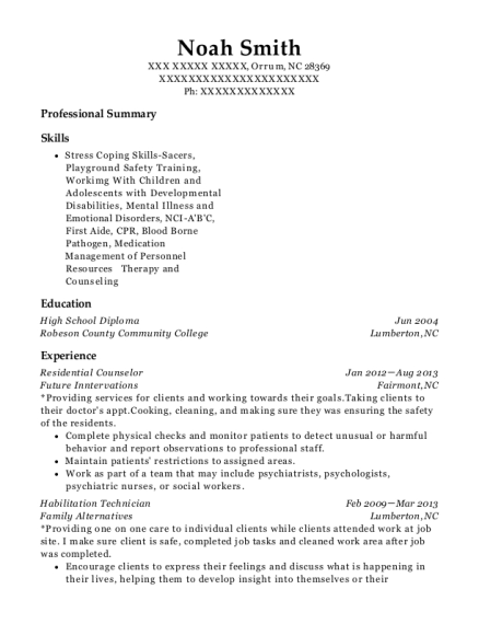 Residential Counselor resume template North Carolina