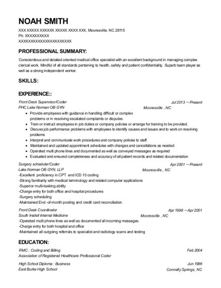 Front Desk Supervisor resume sample North Carolina