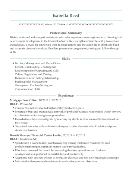 Mortgage Loan Officer resume format North Carolina