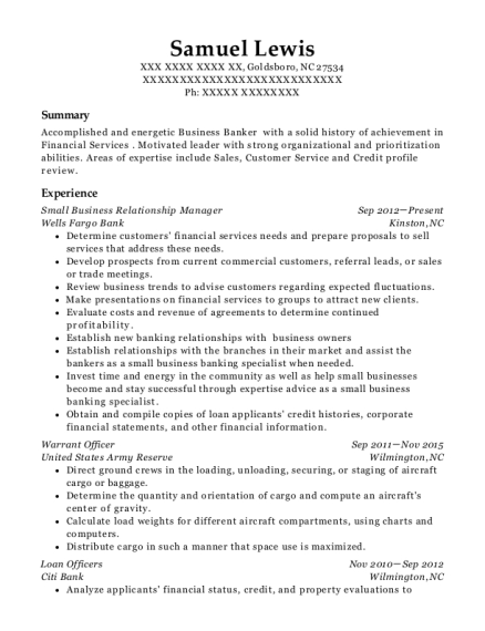 Small Business Relationship Manager resume format North Carolina