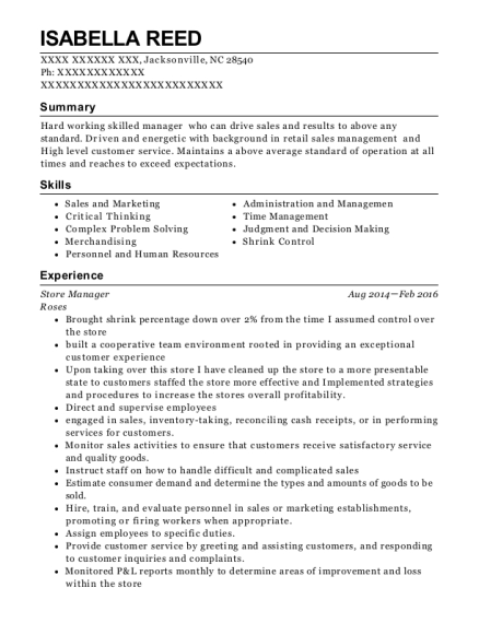 Store Manager resume sample North Carolina