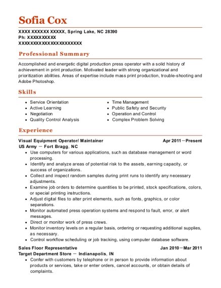 Visual Equipment Operator resume template North Carolina