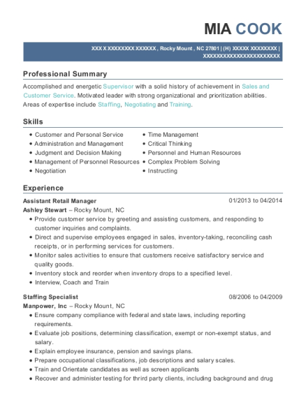 Assistant Retail Manager resume sample North Carolina