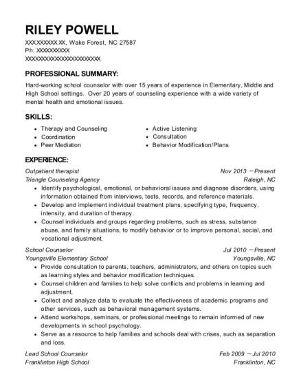 Outpatient therapist resume sample North Carolina