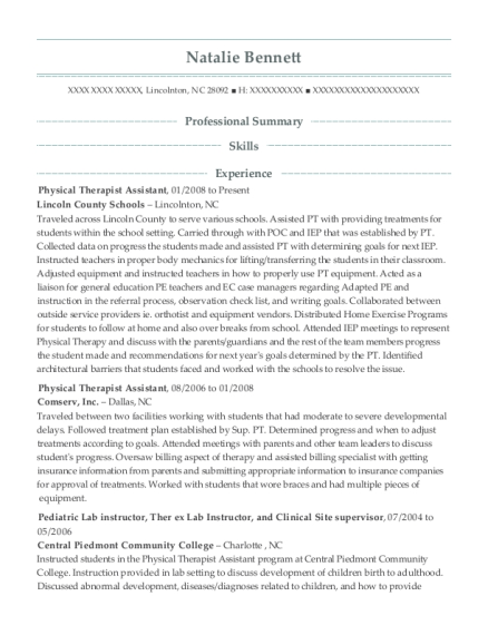 Physical Therapist Assistant resume sample North Carolina