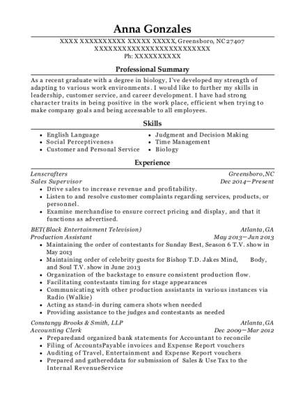 Sales Supervisor resume format North Carolina