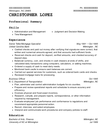 Senior Teller resume format North Carolina