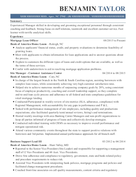 Mortgage Loan Officer resume sample North Carolina