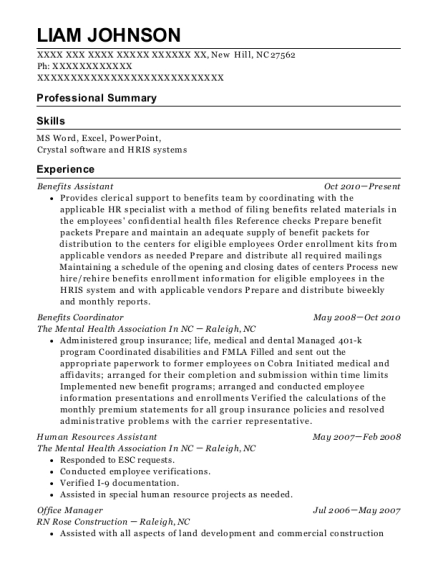 Benefits Assistant resume format North Carolina