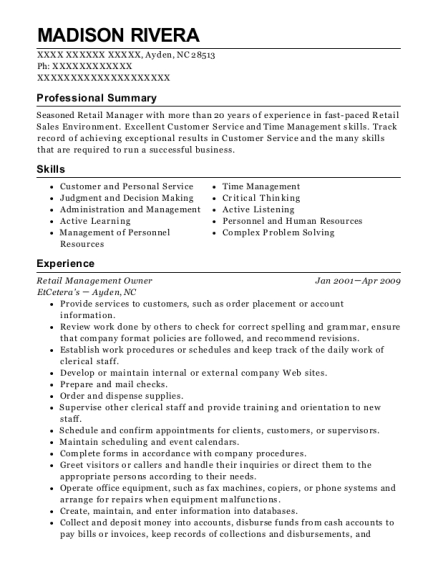 Retail Management Owner resume template North Carolina