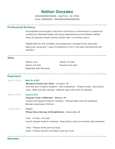 Med Tec & SIC resume sample North Carolina